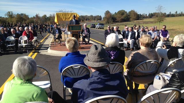 A ceremony opening the East-West Parkway is held in Anderson. (Nov. 8, 2013/FOX Carolina)