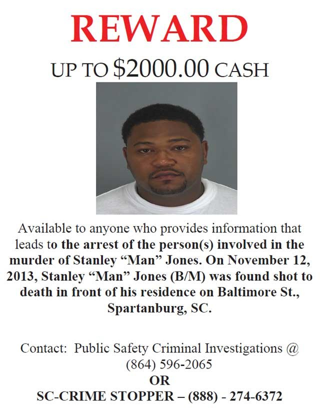 The Crime Stoppers flyer for Stanley Jones. (Source: Spartanburg Public Safety)