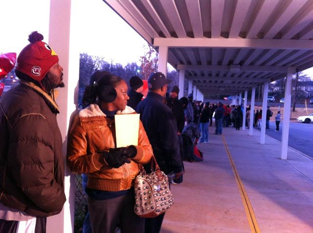 Parents waiting in line last December at A.J. Whittenberg Elementary. (File: FOX Carolina)