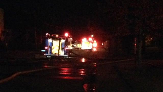 Easley Bridge Road was closed because of the fire on Wednesday night. (Nov. 13, 2013/FOX Carolina)