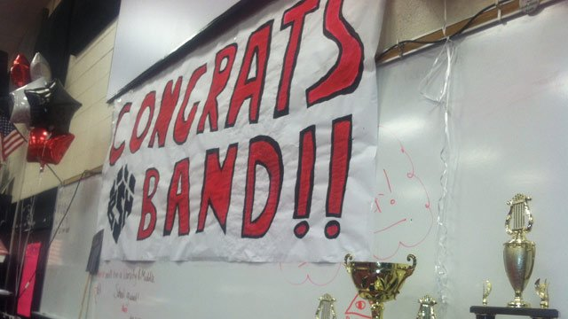 The band arrives back at Boiling Springs High School on Sunday. (Nov. 17, 2013/FOX Carolina)