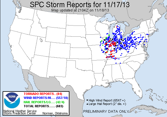 Sunday's storm reports from SPC