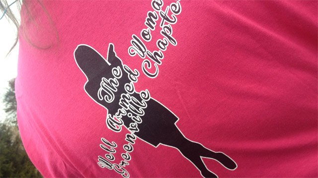 A look at The Well Armed Woman Greenville chapter's T-shirt. (Nov. 18, 2013/FOX Carolina)
