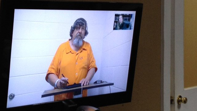 Clifford Morrell appears before an Anderson Co. judge on the conspiracy charge. (Nov. 21, 2013/FOX Carolina)