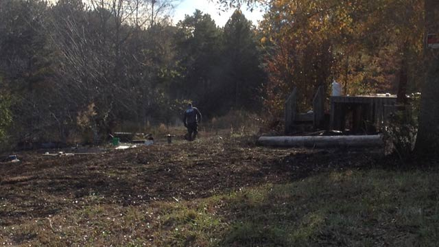 A body was found near the brush fire on Chuck Drive. (Nov. 19, 2013/FOX Carolina)
