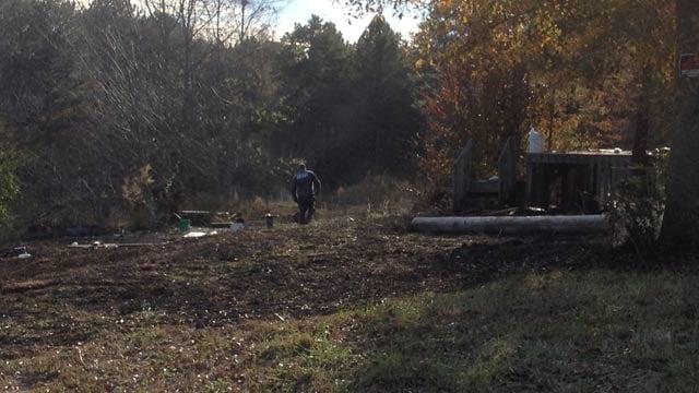 A body was found near the brush fire on Chuck Drive. (Nov. 19, 2013/FOX Carolina)