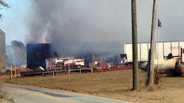 Smoke billows from the mill. (Nov. 20, 2013/FOX Carolina)
