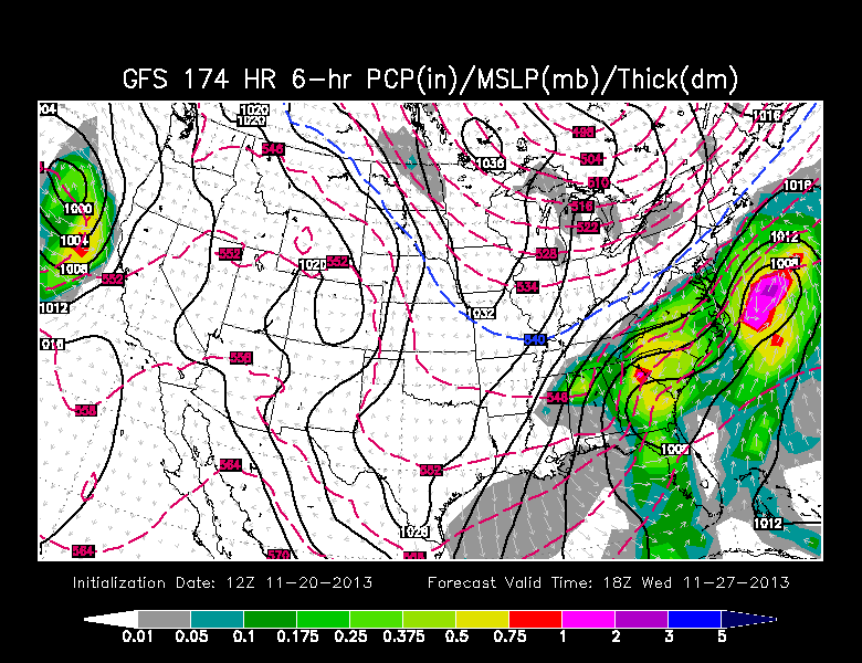 GFS model for next Wednesday