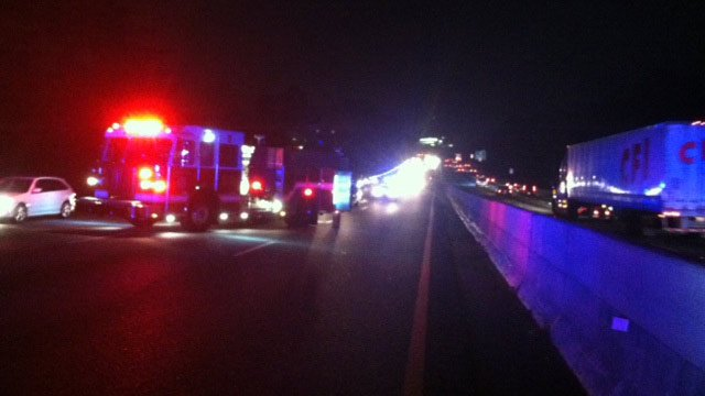 Firefighters have part of I-85 blocked near where the man ran out into the roadway. (Nov. 20, 2013/FOX Carolina)