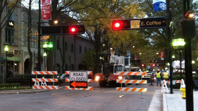 Crews have North Main Street closed between Coffee and Washington streets Thursday. (Nov. 21, 2013/FOX Carolina)