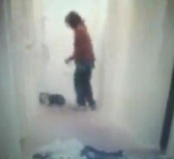 Screen shot from a video police say shows Glover attacking the dog. (Source: Facebook)