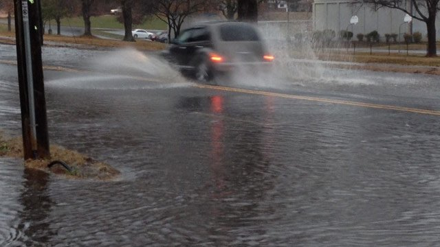 Monaghan Ave. at West Parker Rd. is flooded in Greenville County. (Nov. 26, 2013/FOX Carolina)