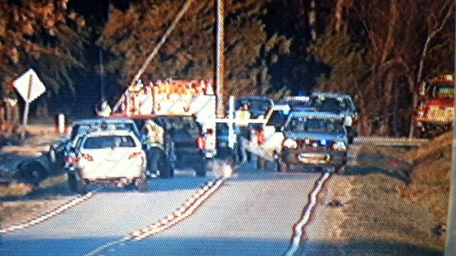 Troopers and emergency crews have Highway 24 blocked at the scene of the wreck. (Nov. 29, 2013/FOX Carolina)