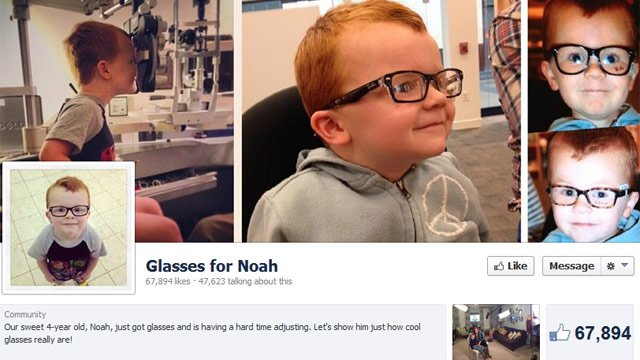 The Glasses for Noah Facebook page has reached thousands. (Source: Facebook)
