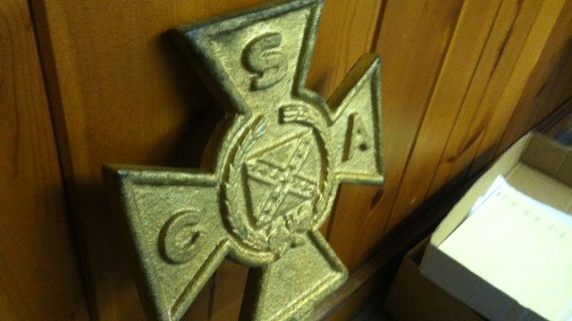 The cross that was recovered from the scrap dealer. (Dec. 6, 2013/FOX Carolina)