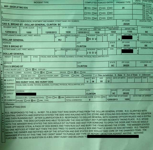 The Clinton police report for Cato's shoplifting incident. (Source: Clinton Public Safety)