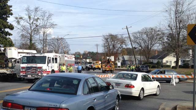 Police have the road blocked at the scene of the single-car wreck. (Dec. 6, 2013/FOX Carolina)