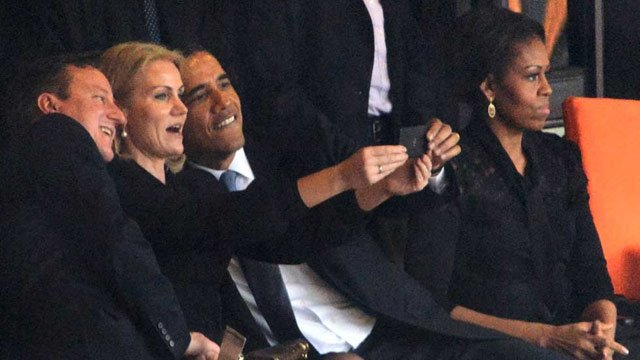 Obama and other leaders getting a selfie at the memorial for Mandela. (AFP/Getty Images)