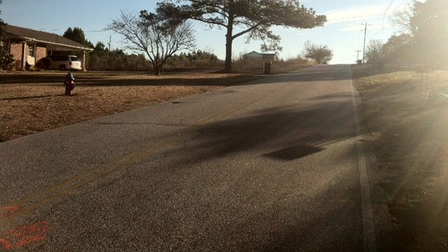 The area along Anita Drive where troopers say the man was hit. (Dec. 13, 2013/FOX Carolina)