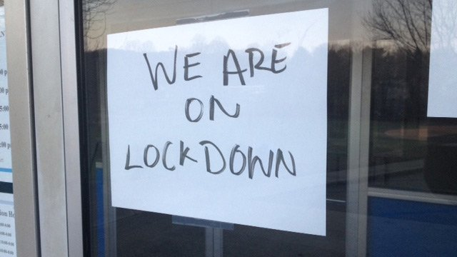 A business was put on lockdown during the manhunt. (Dec. 19, 2013/FOX Carolina)