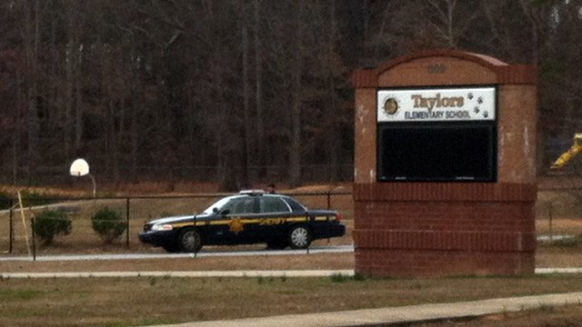 Deputies are assisting at Taylors Elementary after the power went out. (Dec. 20, 2013/FOX Carolina)