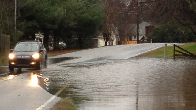 Tanner Road was partially flooded Monday morning. (Dec. 23, 2013/FOX Carolina)