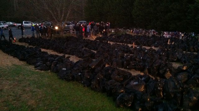 Hundreds of bags filled with toys are ready for distribution. (Dec. 24, 2013/FOX Carolina)