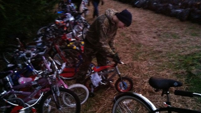 Bikes filled with toys are ready for distribution. (Dec. 24, 2013/FOX Carolina)