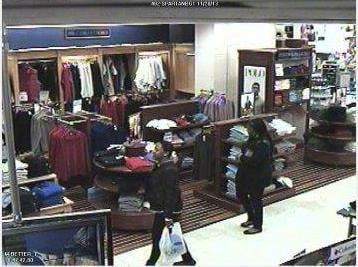 Surveillance pictures showing two women accused of financial transaction fraud. (Source: Greenville Police Dept.)