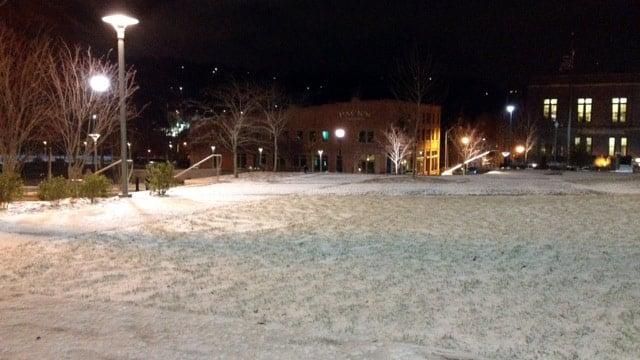 Snow fell across parts of downtown Asheville overnight. (Jan. 3, 2014/FOX Carolina)