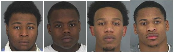 Pictured from left to right: Tyrell Booker, Rondrick Gist, Robert Nash, and Prennis Thompson (courtesy: Spartanburg Co. Sheriff's Office)