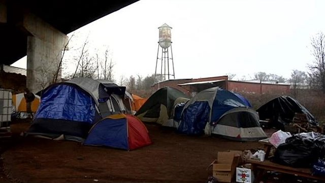 Greenville's Tent City under the Pete Hollis Bridge. (Jan. 5 2014/FOX Carolina)