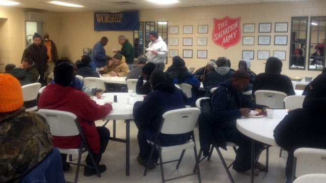 The Salvation Army fed breakfast to more than 100 people who sought warmth at the shelter Tuesday morning. (Jan. 7, 2014/FOX Carolina)