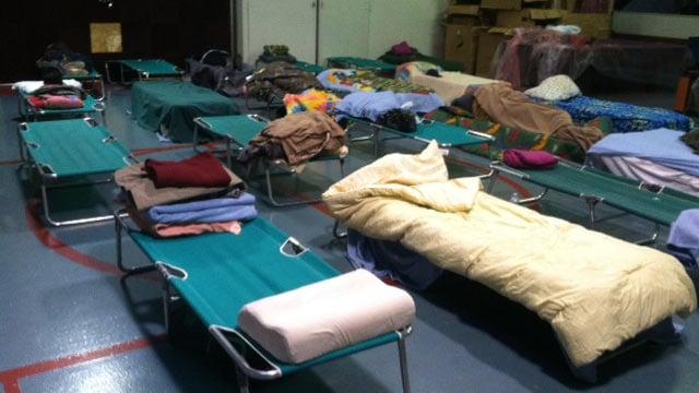 Beds set up at The Salvation Army's shelter. (Jan. 7, 2014/FOX Carolina)