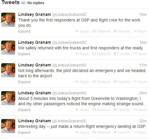 Sen. Graham tweeted about the emergency landing at GSP. (Source: Twitter)