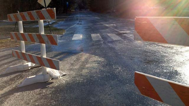 W.T. Weaver Blvd. is blocked because of the icy road. (Jan. 4, 2014/FOX Carolina)