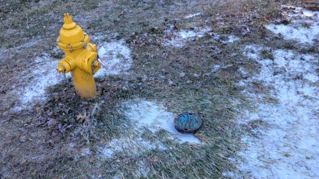 The frozen grass around a nearby fire hydrant. (Jan. 4, 2014/FOX Carolina)