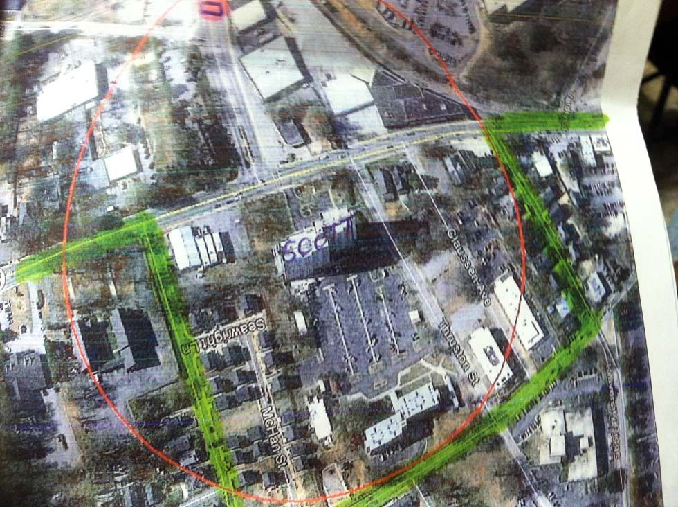 The 600' safety perimeter planned for demolition day. (Source: City of Greenville)