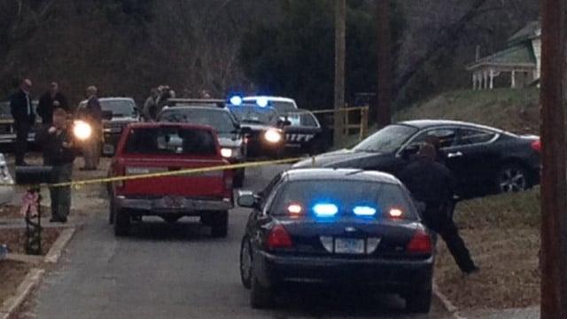 Deputies have a large crime scene blocked off along Archie St. (Jan. 9, 2014/FOX Carolina)