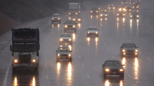 Drivers on a rainy, wet interstate. (File/Associated Press)