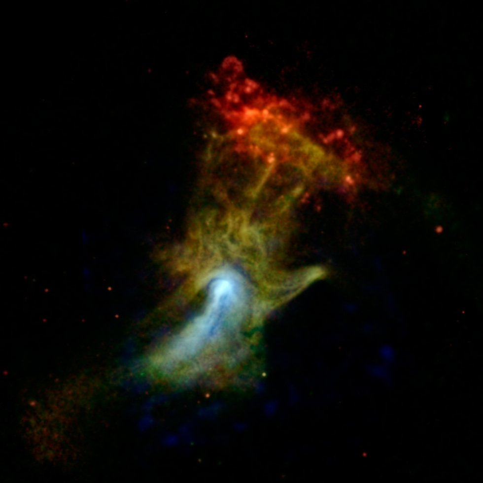 Click above to see a larger version of the 'Hand of God' image from NASA's NuSTAR. (Source:  NASA/JPL-Caltech/McGill)