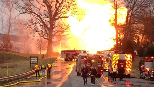 Explosion sends flames towering into air (courtesy: Asheville Fire Dept).