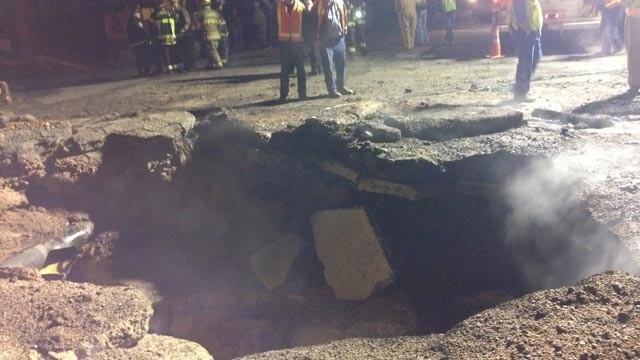 The crater left behind after the explosion (courtesy: Asheville Fire Dept).