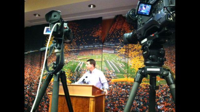 Dabo Swinney talks to media during the season wrap media conference (Fox Carolina)
