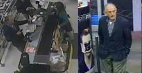 Suspect in card fraud cases at the Bi-Lo (left) and Walgreens (right) on Southport Rd. (Courtesy: Spartanburg Police)