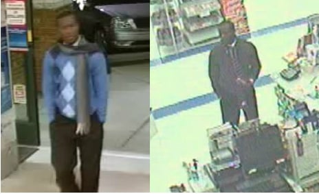 Suspect in card fraud cases at the CVS on Garner Rd. (left) and the Rite Aid (right) on E. Main St. (Courtesy: Spartanburg Police)
