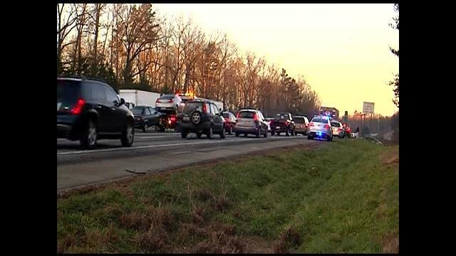 A look at the backup along I-85 southbound at MM 63. (Jan. 13, 2014/FOX Carolina)