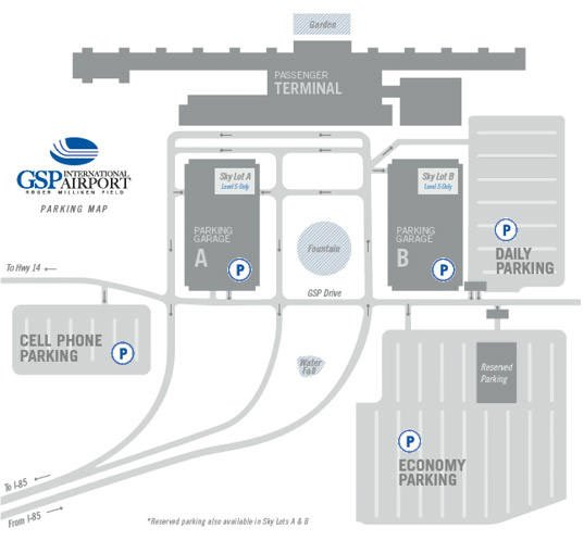GSP's map of parking lot options. (Source: GSP Airport)