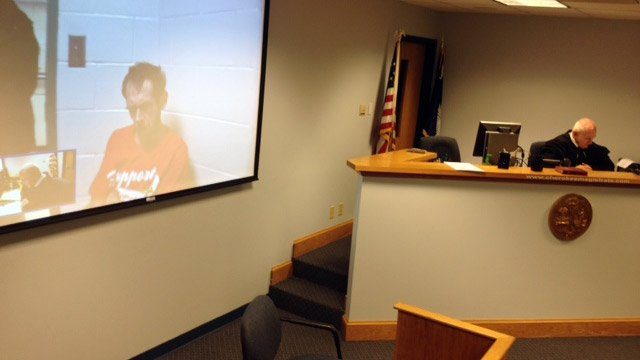 Hayes appears on screen before a Cherokee Co. judge. (Jan. 15, 2014/FOX Carolina)