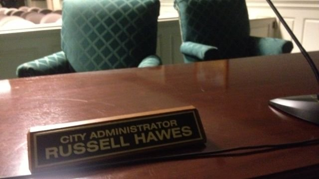 Hawes' seat in the council chambers after the executive session. (Jan. 14, 2014/FOX Carolina)